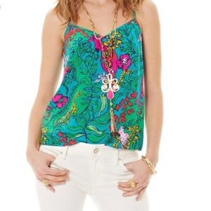 Lilly Pulitzer Dusk Racerback Silk Tank Top Small